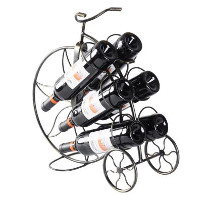 Vintage Decorative Metal Bicycle 6-Bottle Countertop Tabletop Wine Holder