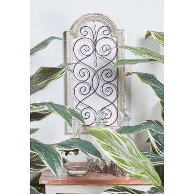 """20 in. x 10 in. """"Arched Open Design Window Panel with Iron Heart Scrollwork"""" Framed Wooden Wall Art"""