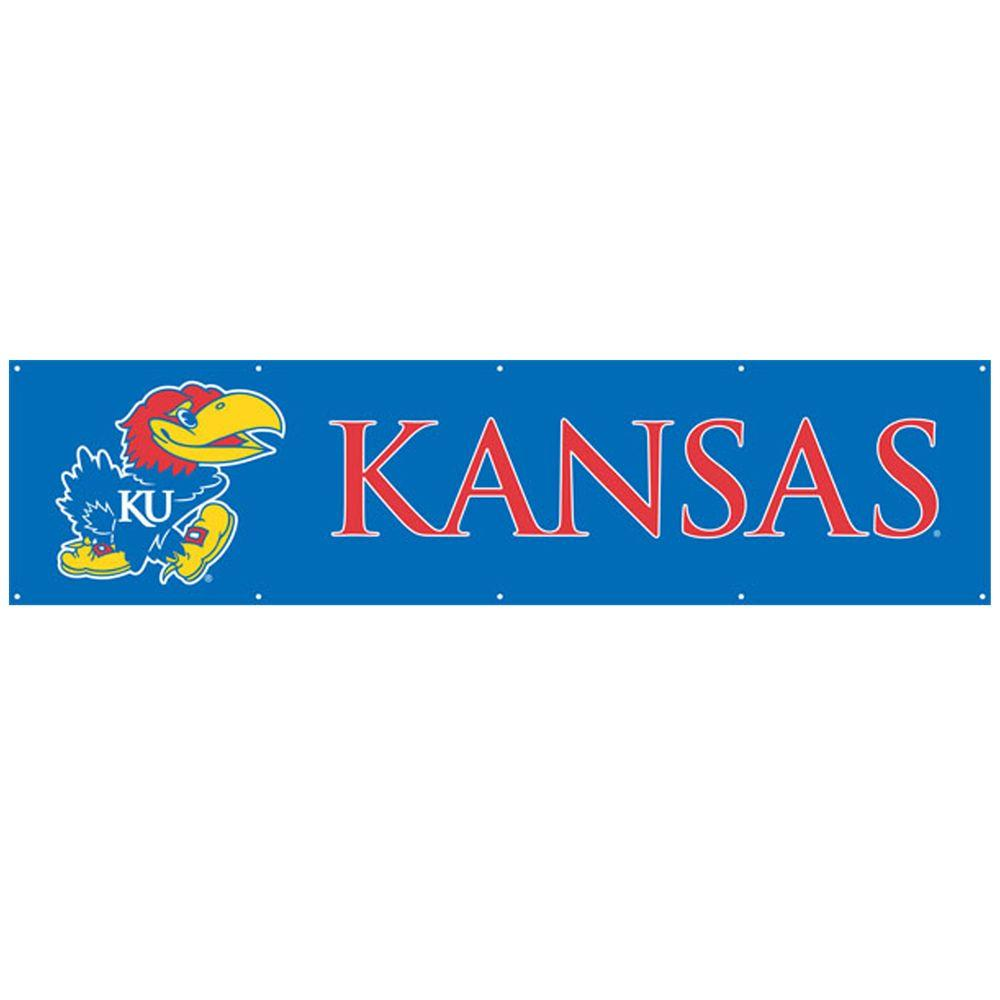 Party Animal 8 ft. x 2 ft. NCAA License Kansas Team Banner-DISCONTINUED