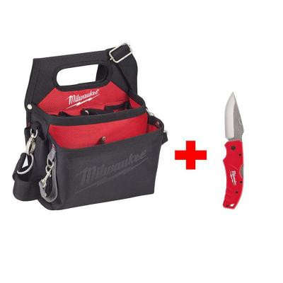 15-Pocket Electricians Work Pouch/Holster with Quick Adjust Belt with 3 in. Lockback Knife