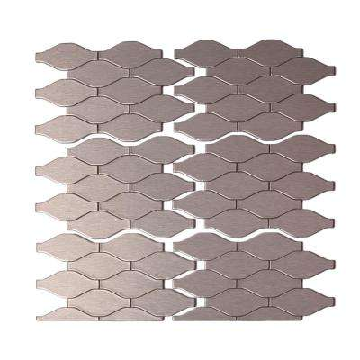 Wavelength Matted 6 in. x 4 in. Metal Decorative Tile Backsplash in Stainless