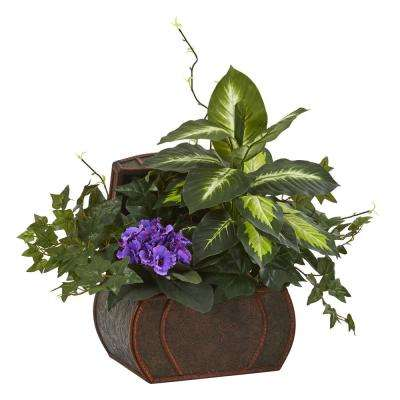 Indoor African Violet & Mix Greens Artificial Plant in Decorative Chest