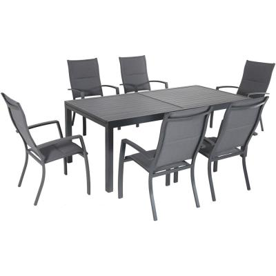 Naples 7-Piece Aluminum Outdoor Dining Set with 6 Padded Sling Chairs and a 40 in. x 118 in. Expandable Dining Table