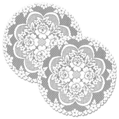 Victorian Rose 19 in. White Round Doily (Set of 2)
