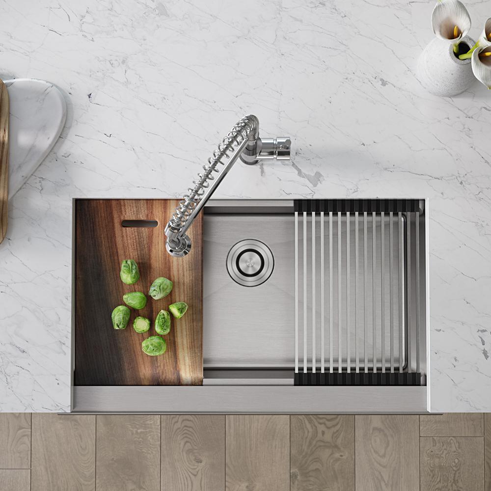 Stainless Steel 32-3/4 in. Single Bowl Farmhouse Apron Kitchen Sink