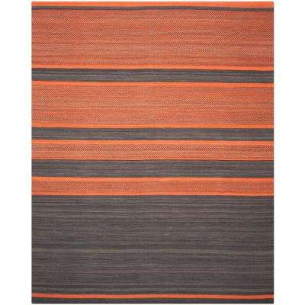 Kilim Dark Gray/Orange 8 ft. x 10 ft. Area Rug