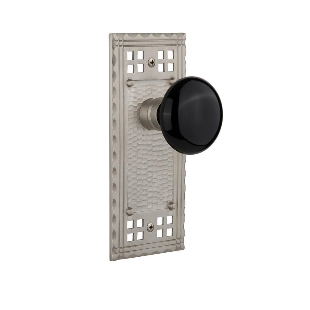 Craftsman Plate Single Dummy Black Porcelain Door Knob in Satin Nickel