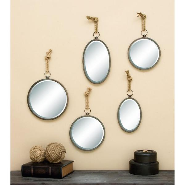 Medium Round Textured Metal Contemporary Mirror (22 in. H x 13 in. W)