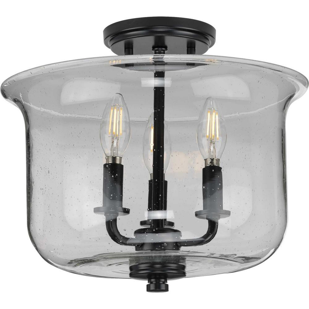 Winslett 13.75 in. Black 3-Light Semi-Flush Mount Convertible