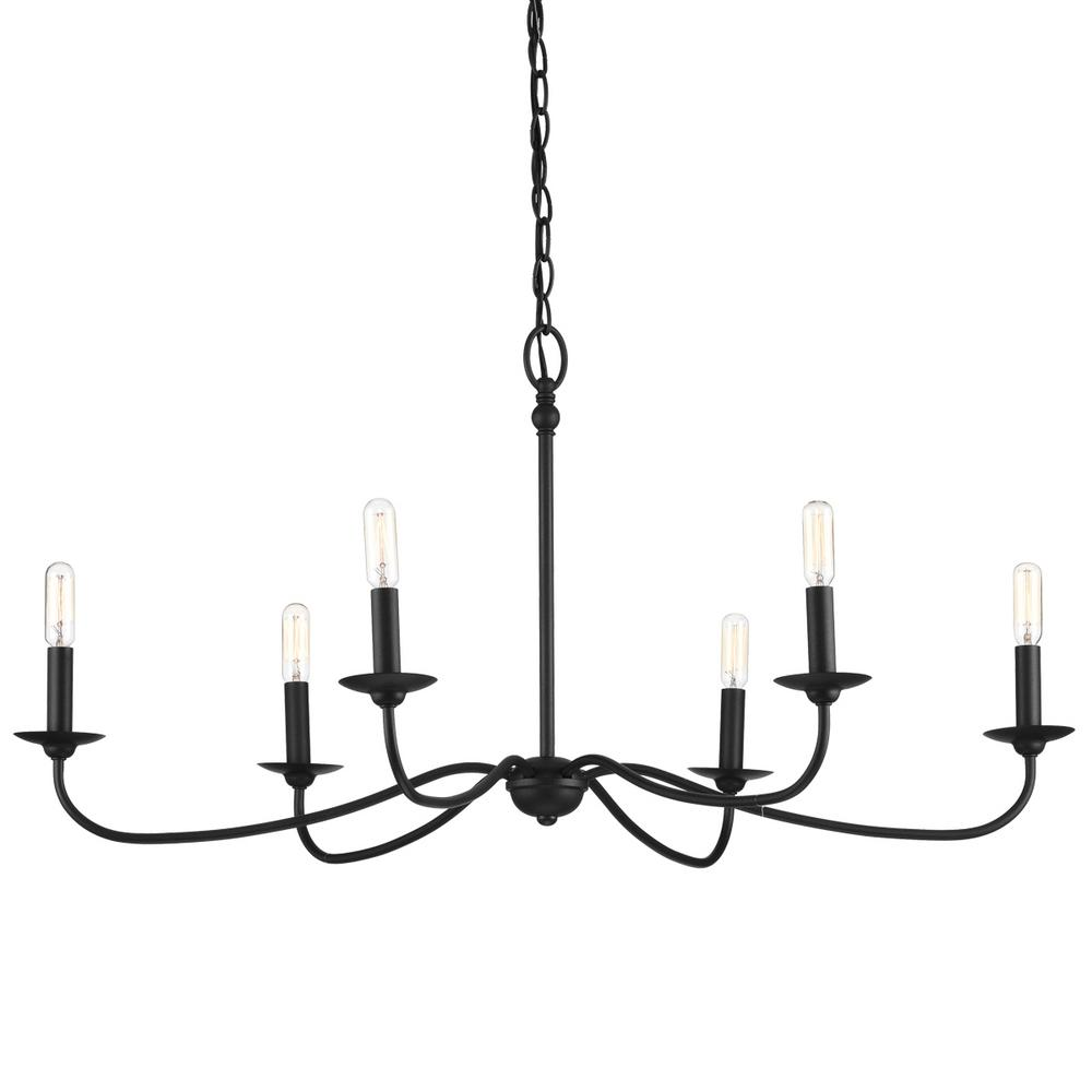 Progress Lighting Pacolet 6-Light Textured Black Chandelier