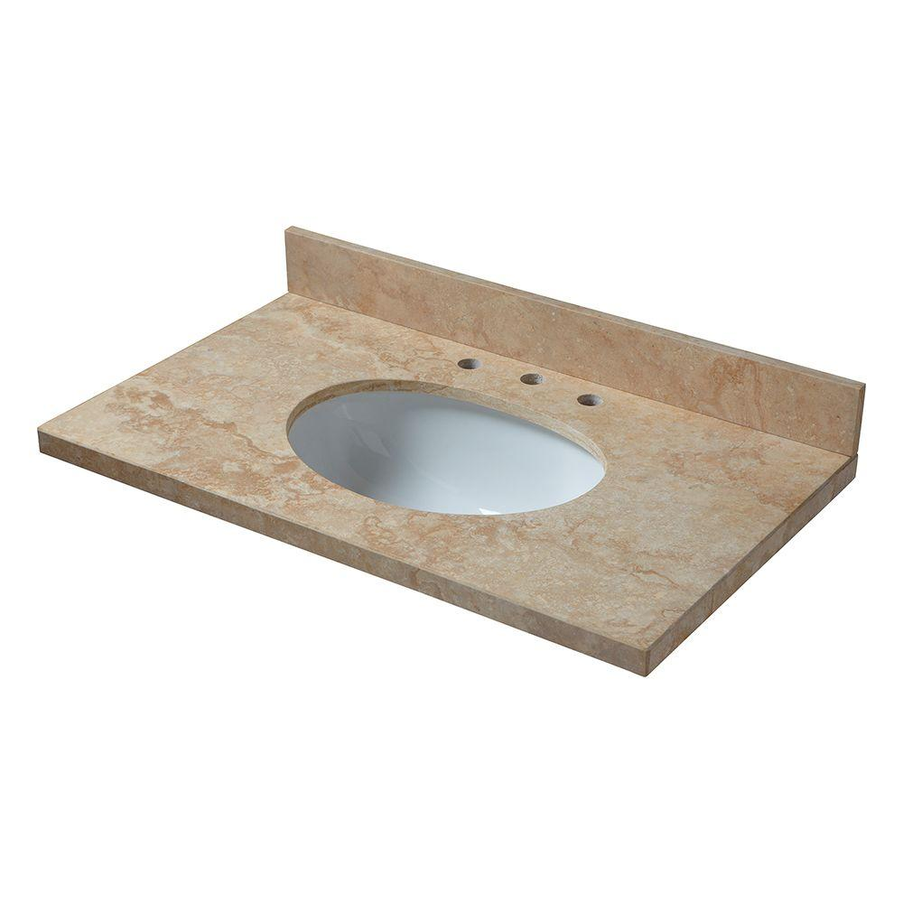 Pegasus 25 in. Travertine Vanity Top in Ivory Select with White Basin