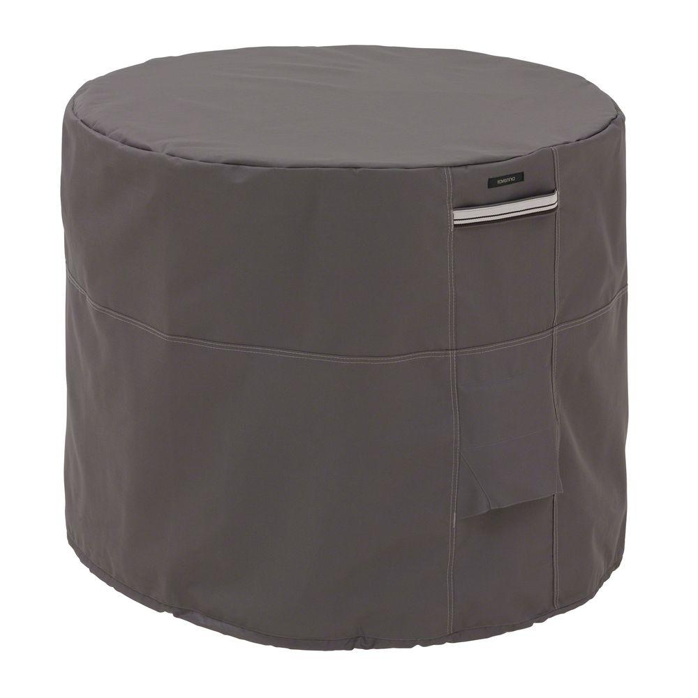 Classic Accessories Ravenna Round Air Conditioner Cover, Gray The Ravenna round air conditioner cover from Classic Accessories combines a striking style with durability, fade-resistance and convenient features. Reinforced padded handles make removal easy while double-stitched seams add strength and a stylish accent. Structured vents stay open to prevent wind lofting and mildew and are lined with mesh barriers. Color: Gray.