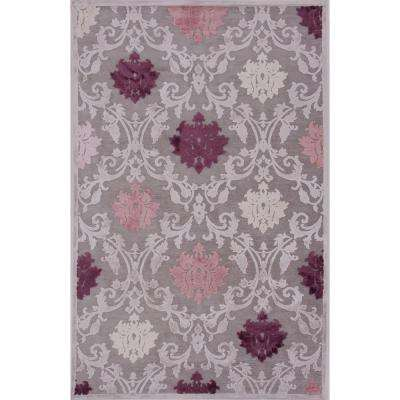Fables Gray 9 ft. 6 in. x 13 ft. 6 in. Damask Rectangle Area Rug