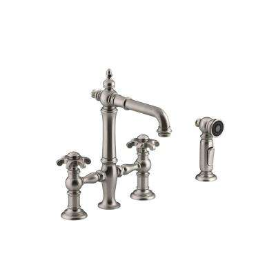 Artifacts 2-Handle Bridge Kitchen Faucet with Prong handles and Side Spray in Vibrant Stainless