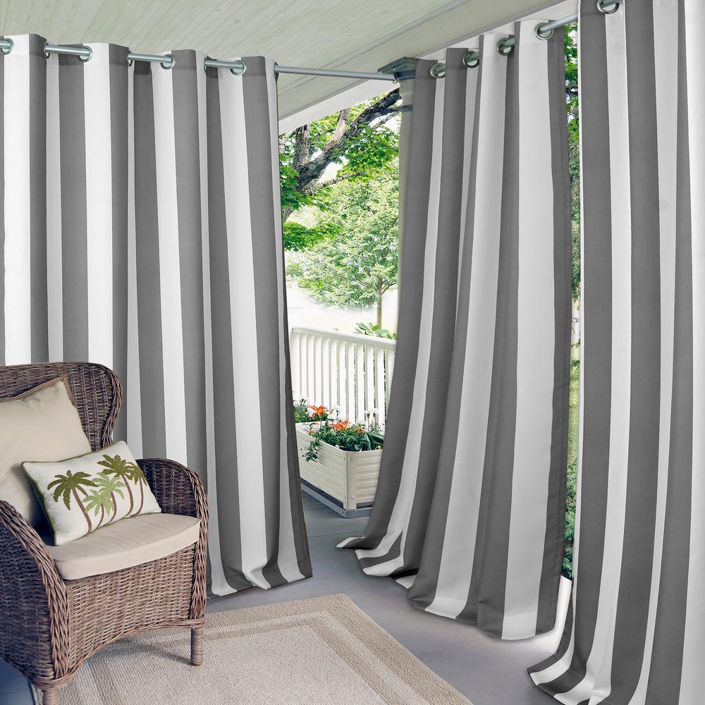 Elrene Aiden Stripe Indoor Outdoor Window Curtain 22044gry The