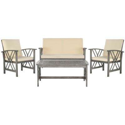 Fontana Grey 4-Piece Wood Patio Conversation Set with Beige Cushions