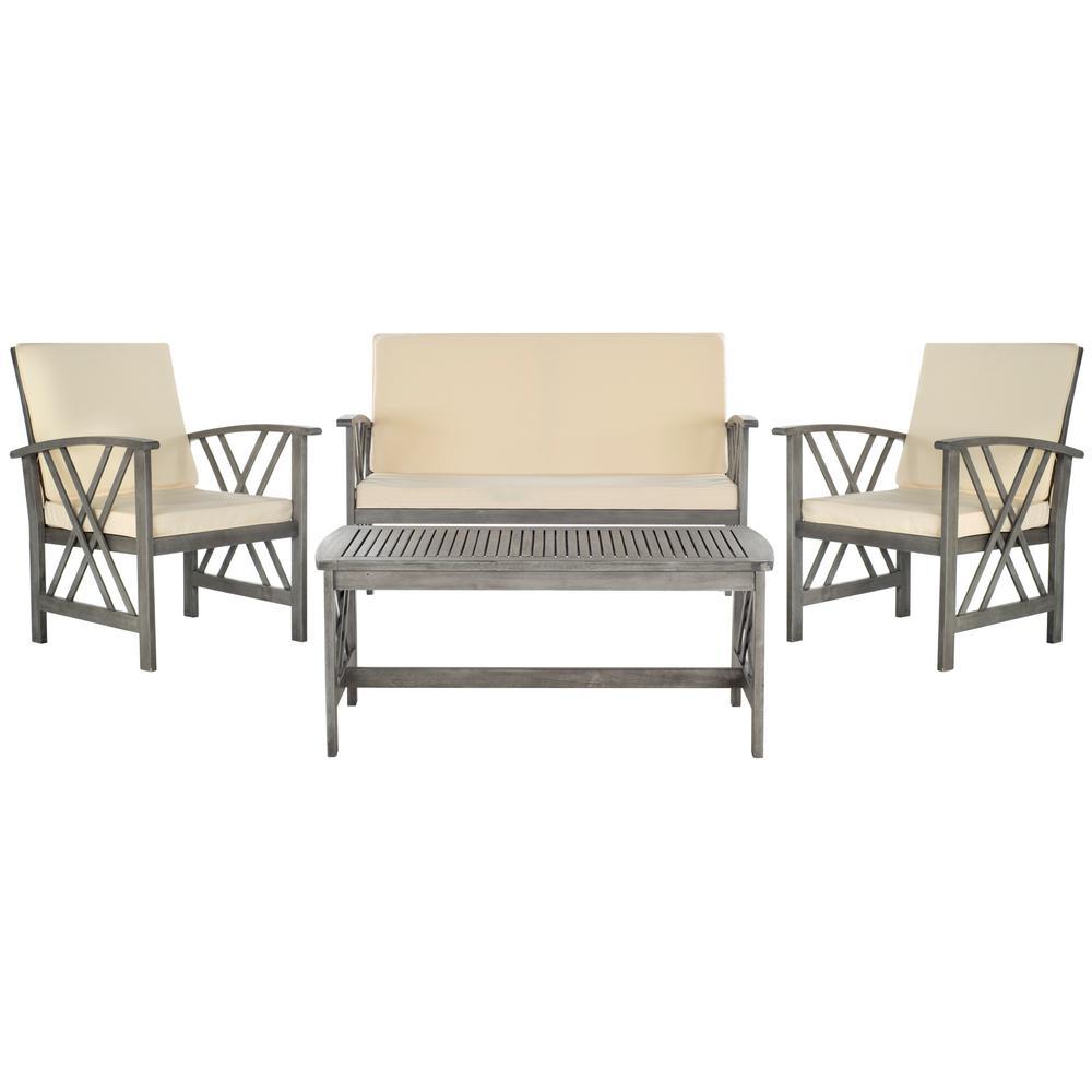 Safavieh Fontana Grey 4-Piece Wood Patio Conversation Set ... on Safavieh Fontana Patio Set id=93528