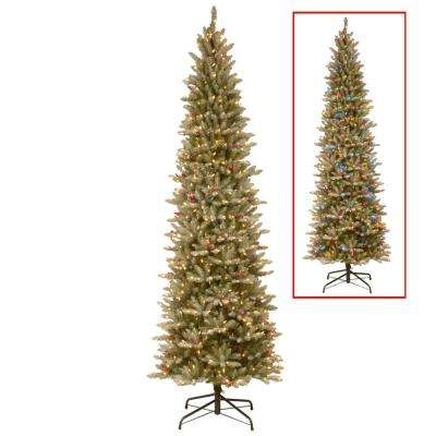 9 ft. PowerConnect Frosted Mountain Fir Artificial Christmas Slim Tree with Dual Color LED Lights
