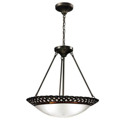 Hillcrest 3-Light Dark Bronze Inverted Pendant with Art Glass