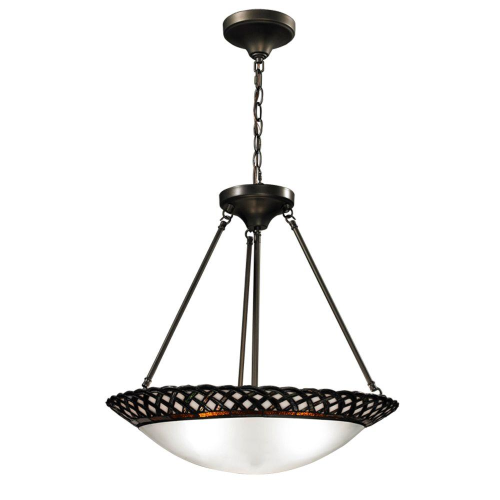 Springdale Lighting Hillcrest 3 Light Dark Bronze Inverted Pendant With Art Gl