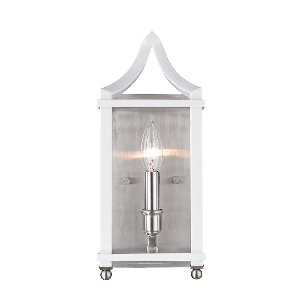 Leighton 1-Light Pewter and White Wall Sconce Light