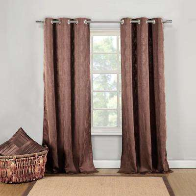 Mollie 40 in. W x 84 in. L Polyester Window Panel in Chocolate