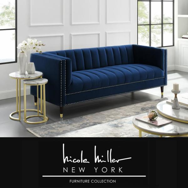 Joan Navy/Gold Velvet Sofa with Line Stitch Tufted