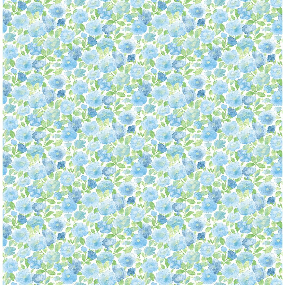 A-Street Elsie Sky Blue Floral Wallpaper Sample 2657-22215SAM