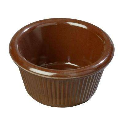 3 oz. Heavy Weight Melamine Fluted Sides Ramekin in Chocolate Brown (Case of 48)