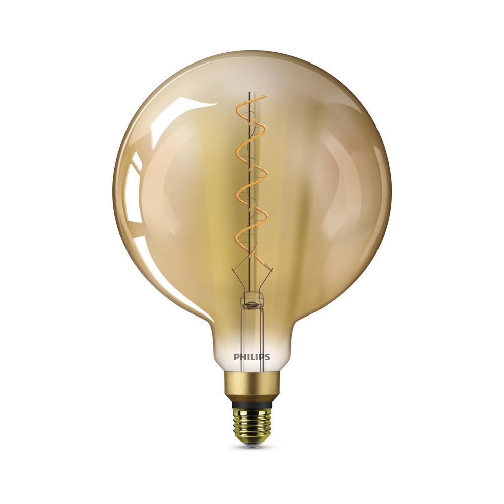 40-Watt Equivalent G63 Dimmable Vintage Glass Edison LED Large Light Bulb Amber Warm White (2000K)