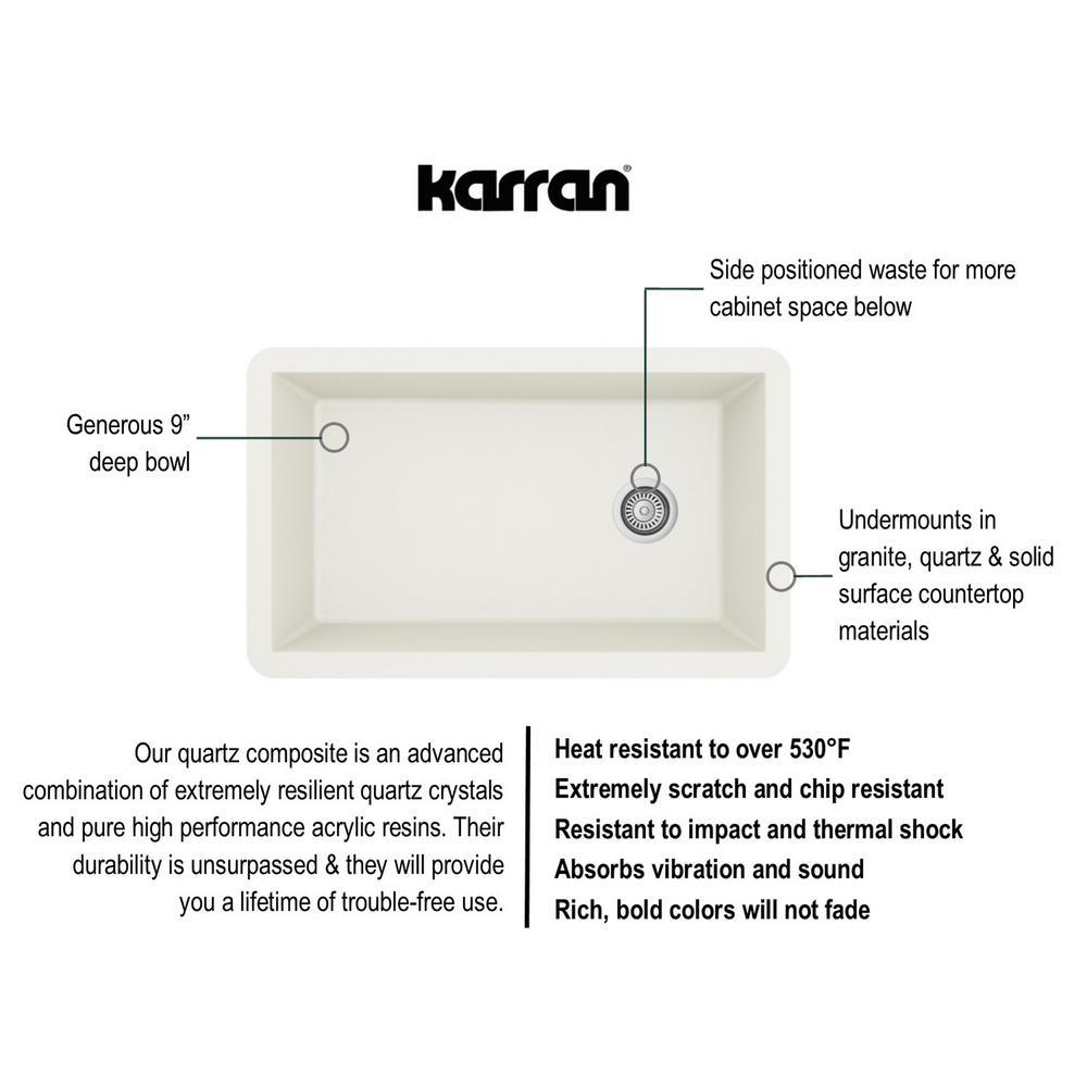 Undermount Quartz Composite 32 in. Single Bowl Kitchen Sink in White