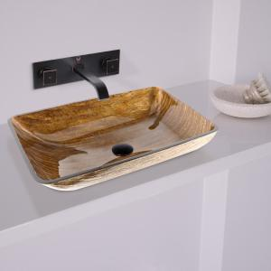VIGO Rectangular Glass Vessel Sink in Amber Sunset with Wall-Mount Faucet Set in Antique Rubbed Bronze by VIGO