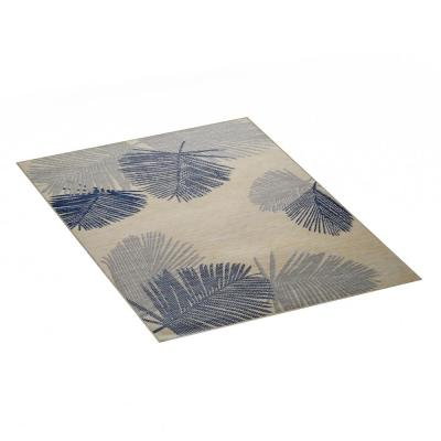 Blue and Tan 5 ft. x 7 ft. Tropical Palm Indoor/Outdoor Area Rug