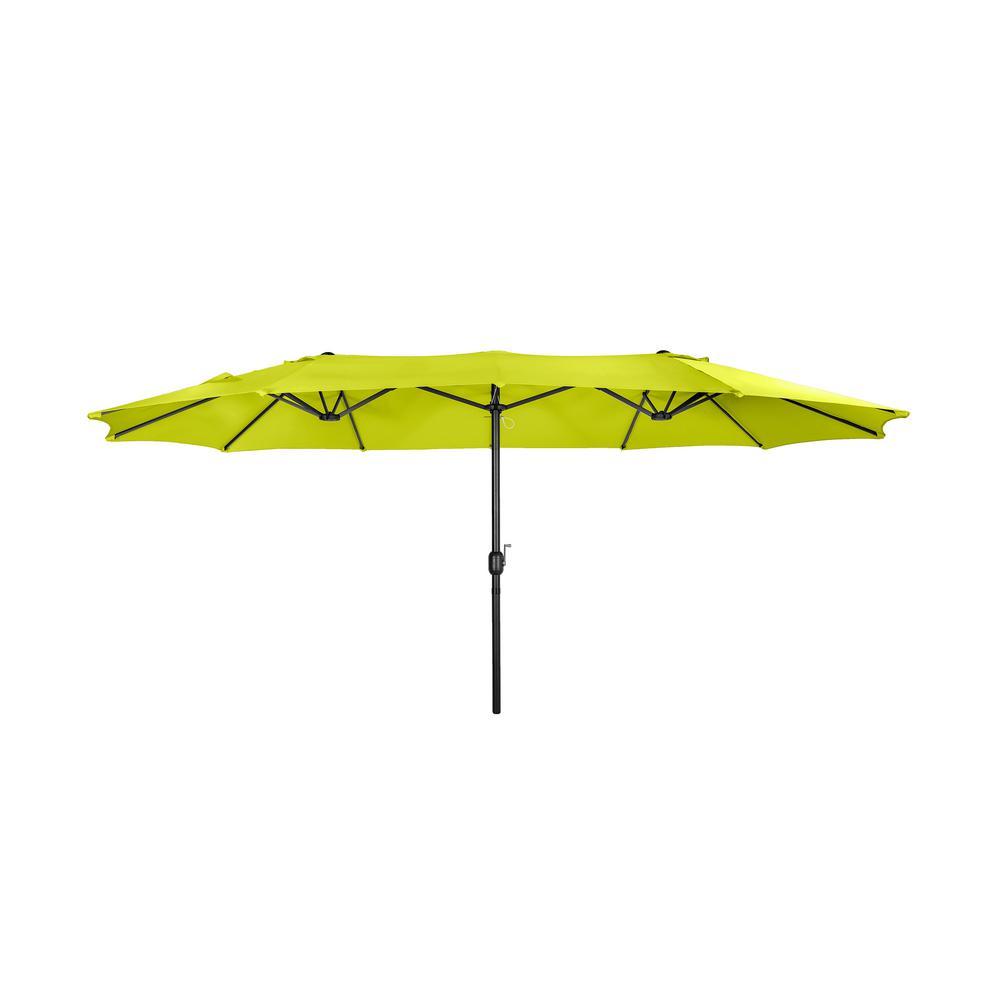 BALITwin 15 ft. x 9 ft. Rectangular Market Patio Umbrella in Lime Green