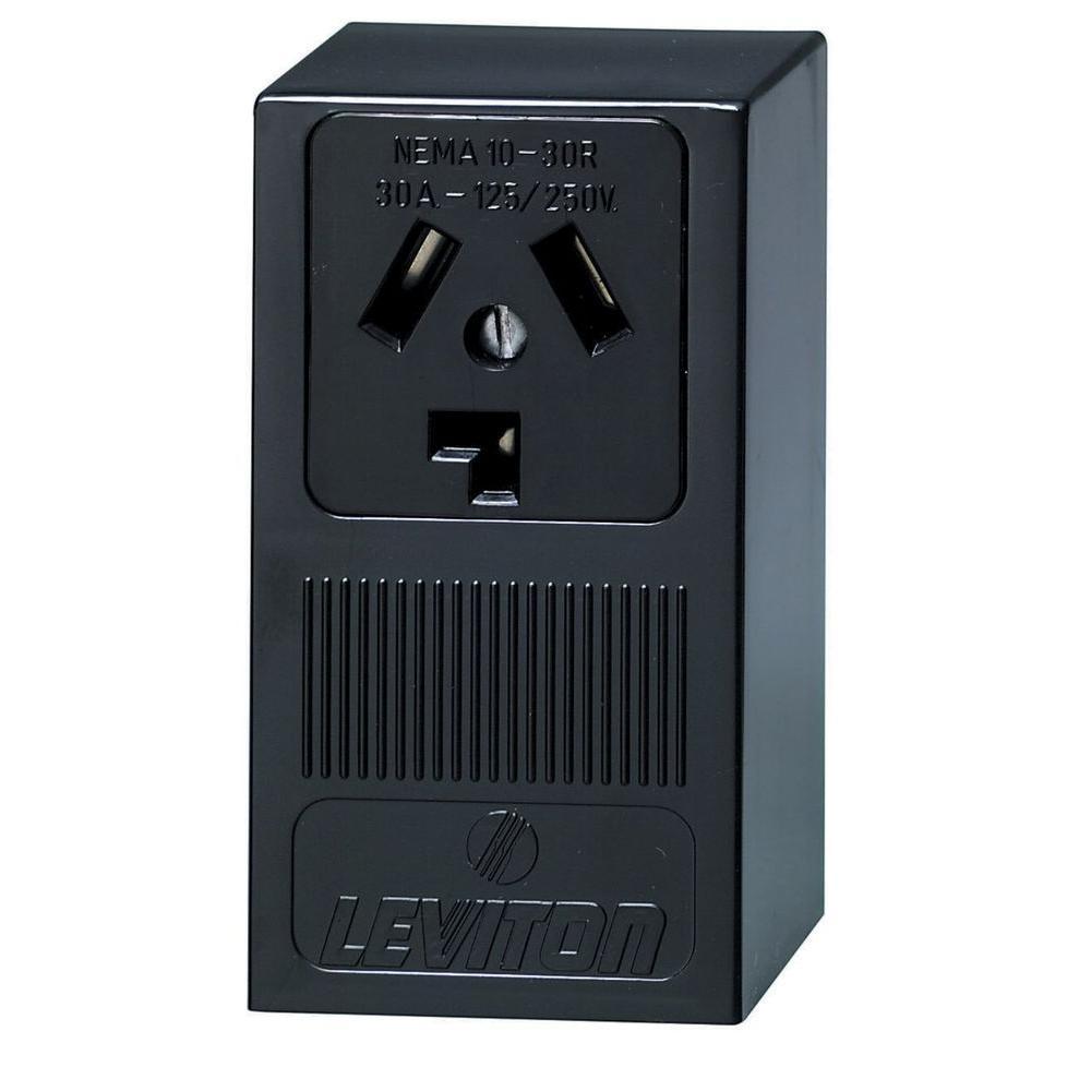 leviton 30 amp surface mount single outlet  black