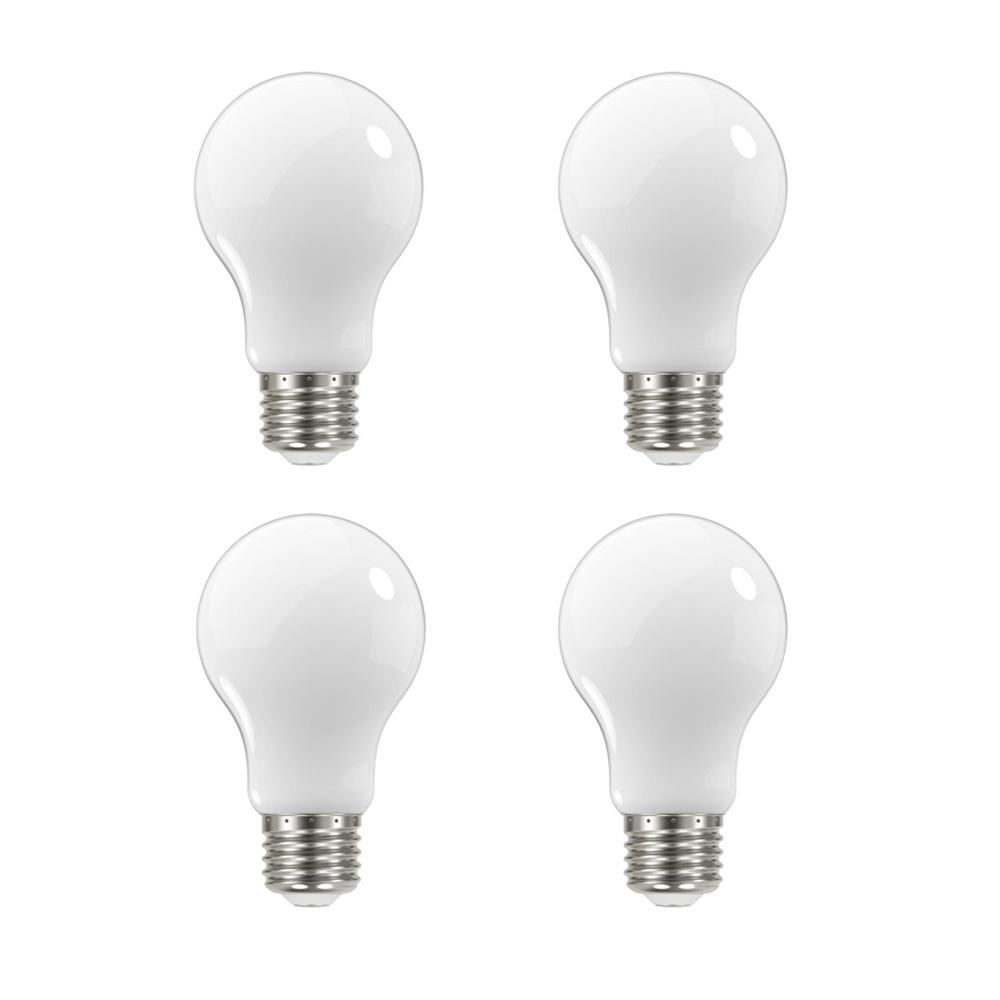 EcoSmart 60-Watt Equivalent A19 Dimmable Energy Star Frosted Filament LED Light Bulb Daylight (4-Pack)