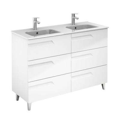 Vitale 48 in. W x 18 in. D 6-Drawers Vanity in White with White Basin