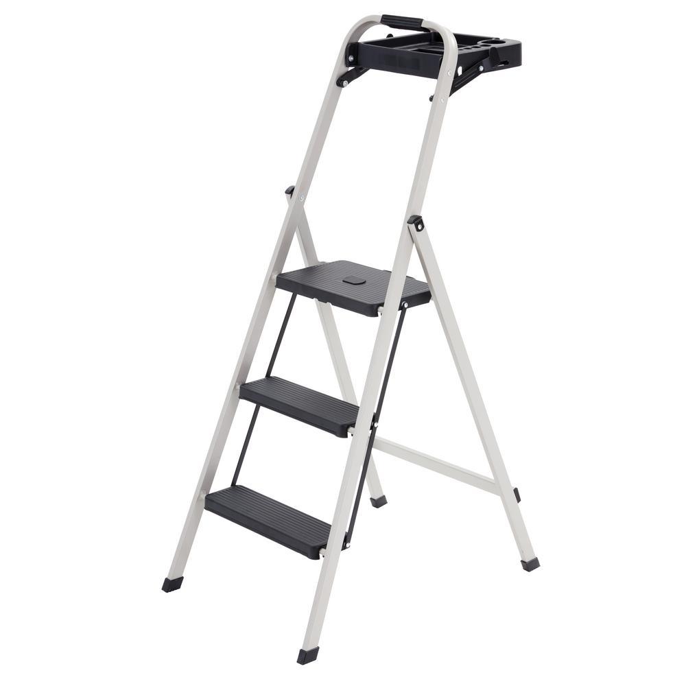 Skinny Mini 3-Step Steel Step Stool, 225 lbs. Load Capacity Type II Duty Rating