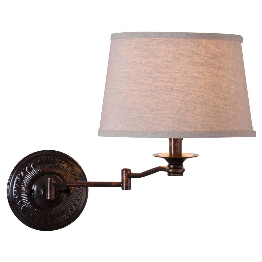 Riverside 16 in. Copper Bronze Wall Swing Arm Lamp