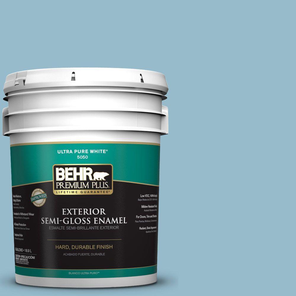BEHR Premium Plus 5-gal. #S480-3 Sydney Harbour Semi-Gloss Enamel Exterior Paint