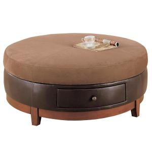 Brown Microfiber And Leather Look Coffee Table