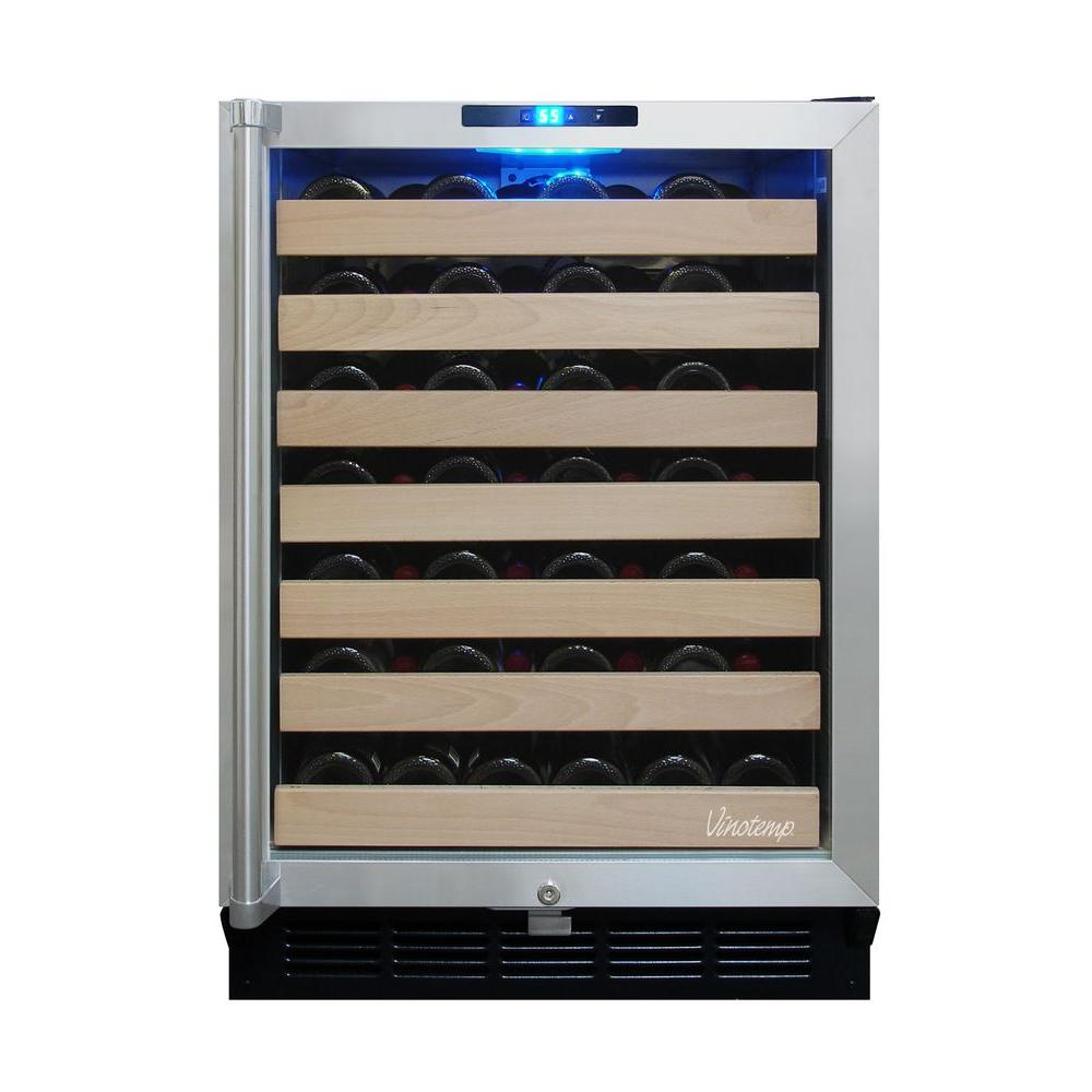 Vinotemp 50-Bottle Built-In Wine Cooler in Black/Stainless-DISCONTINUED