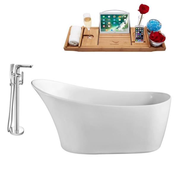 Tub, Faucet, and Tray Set 59 in. Acrylic Flatbottom Non-Whirpool Bathtub in Glossy White
