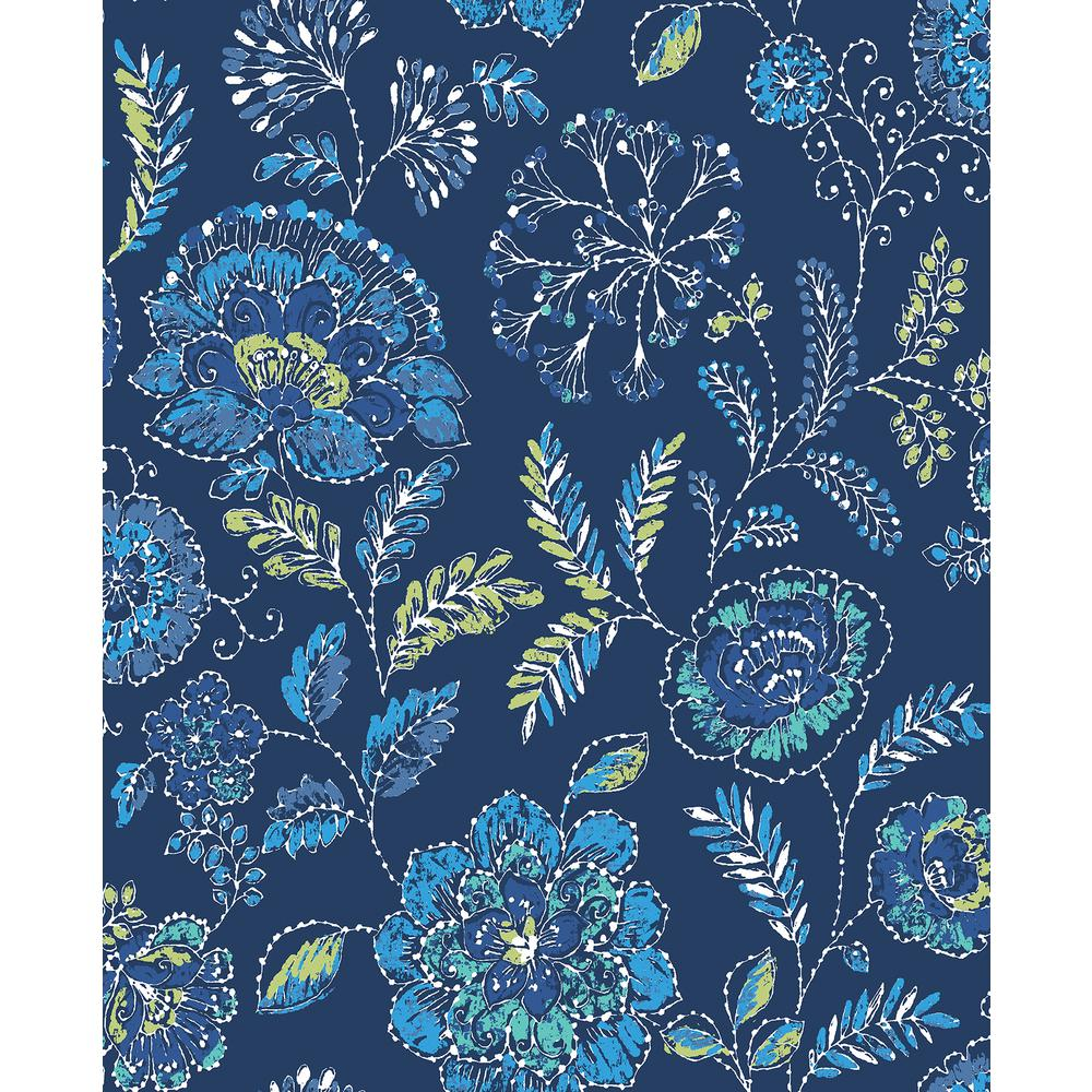 A Street 56 4 Sq Ft Tropez Navy Jacobean Wallpaper 2744 24112