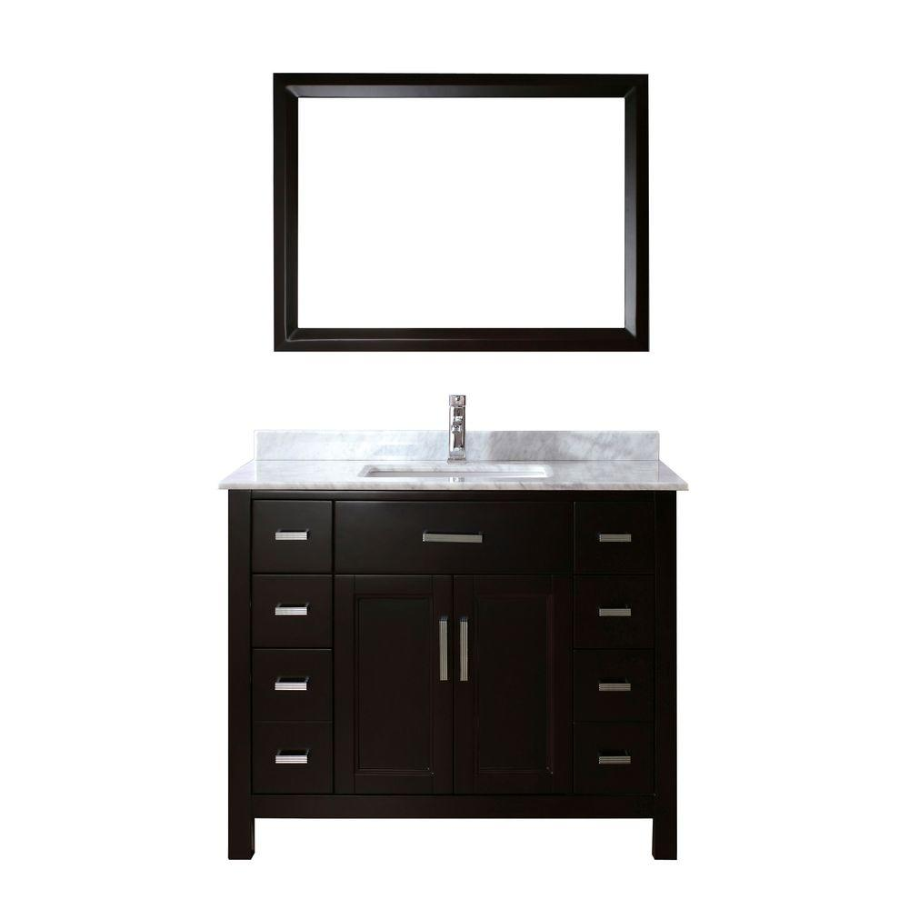 Studio Bathe Kelly 42 in. Vanity in Espresso with Marble Vanity Top in Carrara White and Mirror