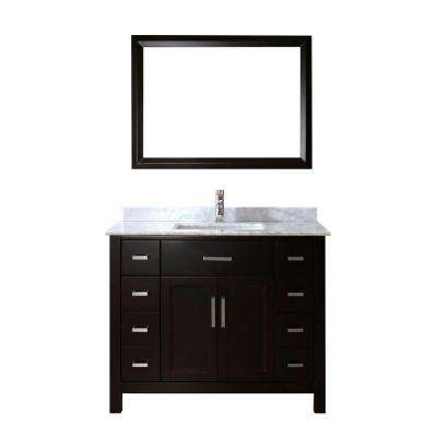 Kelly 42 in. Vanity in Espresso with Marble Vanity Top in Carrara White and Mirror