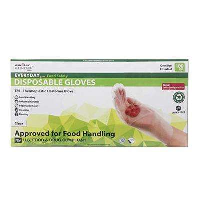 X-Long 11 in. Disposable Food Handling Long Cuff TPE Gloves (100 per Box)