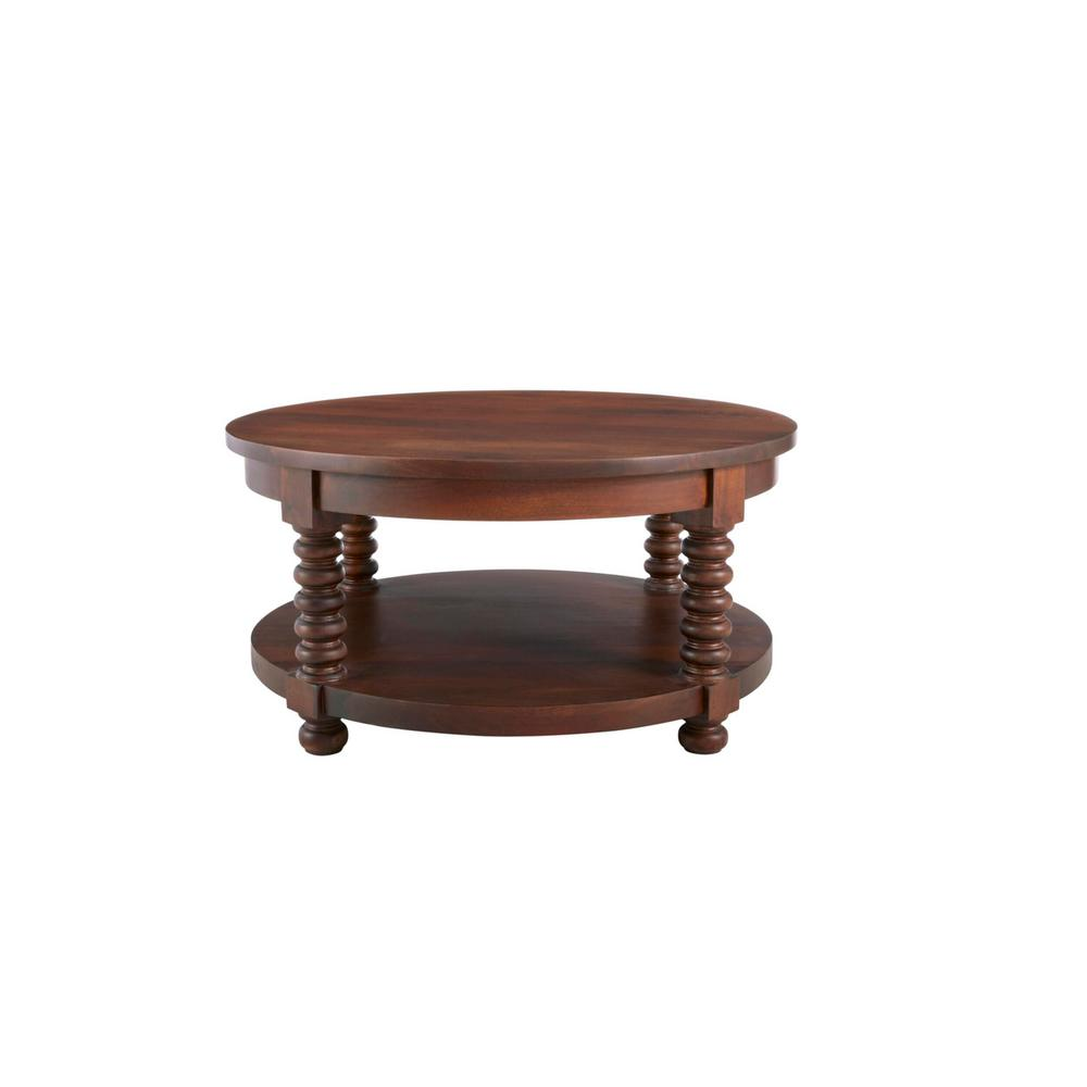 Glenmore Round Walnut Finish Wood Coffee Table with Detailed Legs (36 in. W x 18 in. H)