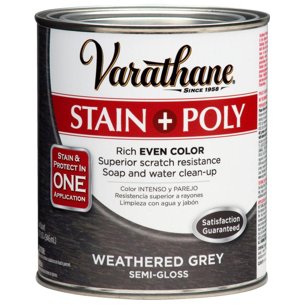 Varathane 1 qt. Weathered Gray Poly Wood Stain-271466 - The Home Depot