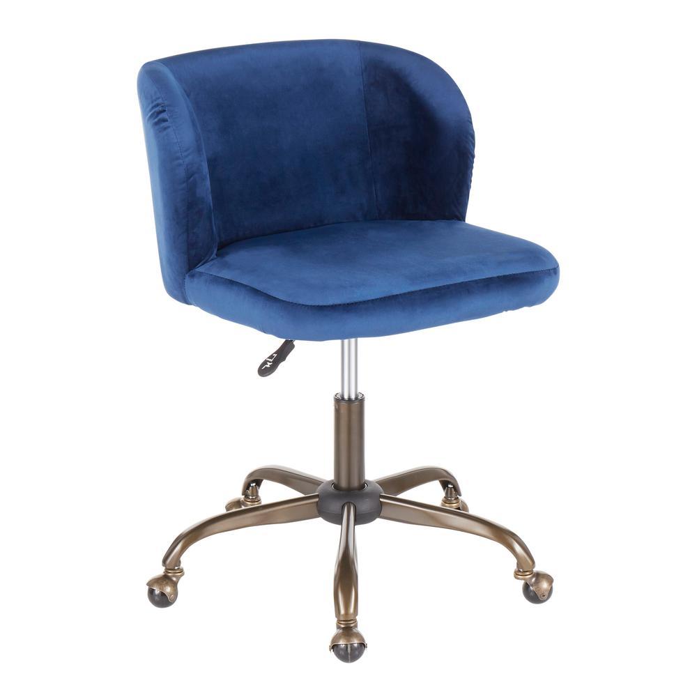 Fran Antique Blue Velvet Adjustable Task Chair